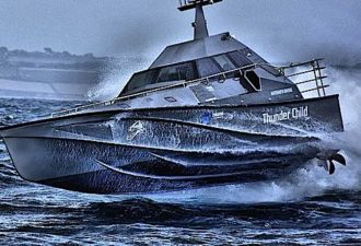 Thunder Child, the unsinkable boat? Self-righting, wavepiercing interceptor engineered to be the perfect boat for offshore patrol