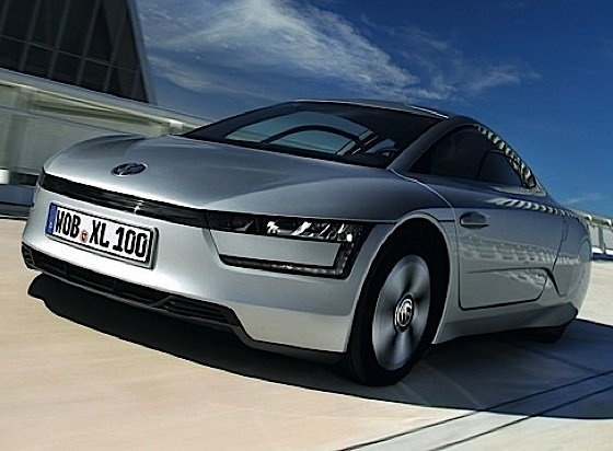The hybrid, two-seater Volkswagen XL1. The world's most fuel-efficient car, surpassing Volkswagen's goal of 1 liter per 100 km. It is 153,1 inches long, 65.6 inches wide and 45.4 inches tall.