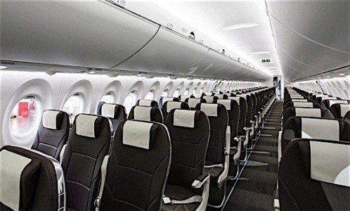 Swiss Air Bombardier CSeries CS100 interior Farnborouhg Air Show Quebec aerospace indusry Canada EDIWeekly