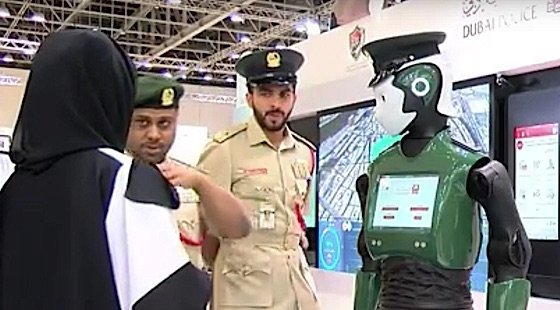 Dubai Robocop at a show presenting capabilities