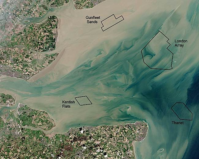 Engineered Design Insider Thames Estuary and Wind Farms from Space NASA with annotationsOil Gas Automotive Aerospace Industry Magazine
