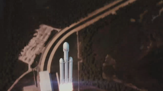 Space X launch simulation of Falcon Heavy