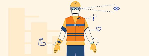 Wearable PPE for Construction industry (shown) and other industries are being enhanced with sensors and biometrics.