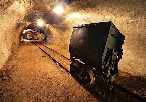 Mine Shaft with railway and cart